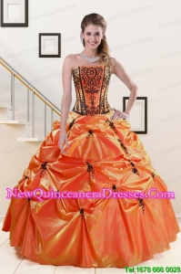 2015 Discount Orange Red and Black Quinceanera Dresses with Appliques