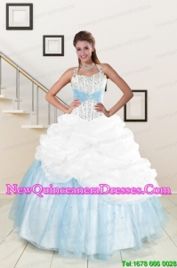 2015 White and Blue Ball Gown Discount Quinceanera Dress with Halter
