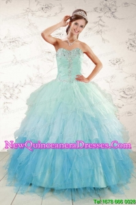 Custom Made Multi Color 2015 Quinceanera Dresses with Beading and Ruffles