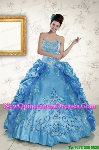Custom Made Sweetheart Embroidery Sweet 16 Dress in Blue