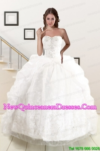 Custom Made White Brush Train Quinceanera Dresses with Appliques and Pick Ups