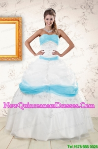 Discount White and Baby Blue Ball Gown Quinceanera Dress for 2015