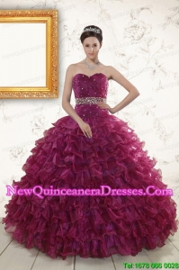 Discount Burgundy Quinceanera Gown with Beading and Ruffles