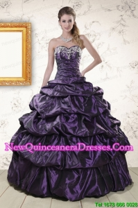 Modern Sweetheart Purple Discount Quinceanera Dresses with Appliques for 2015