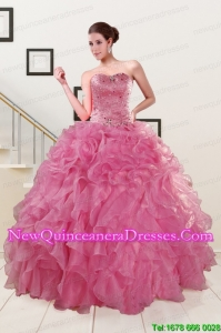 Pink 2015 Custom Made Quinceanera Dresses Sweetheart with Ruffles