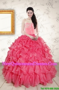 Strapless Beading and Ruffles 2015 Discount Quinceanera Dresses in Hot Pink