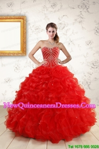 Sweetheart Beading Perfect Red Discount Quinceanera Dresses for 2015