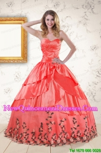2015 Discount Quinceanera Gowns with Ruching and Appliques