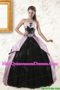 2015 Discount Strapless Quinceanera Dresses with Appliques and Ruffles