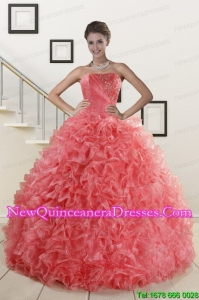 2015 New Arrival Watermelon Red Discount Quinceanera Dresses with Beading