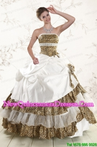2015 Top Seller Leopard Quinceanera Dresses with Hand Made Flower