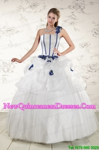 Discount White One Shoulder Hand Made Flower Quinceanera Dress for 2015