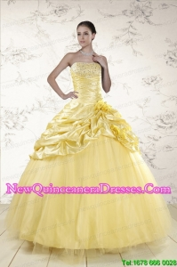 Discount Yellow Sweetheart Ball Gown Quinceanera Dresses for 2015