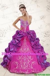 Top Seller Ball Gown Embroidery Court Train Quinceanera Dresses in Purple