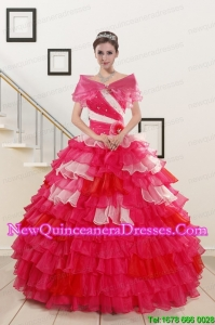Top Seller Beading Quinceanera Dresses with One Shoulder for 2015
