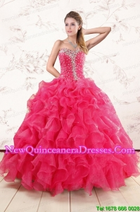Top Seller Hot Pink Ruffles and Beaded Wonderful Quinceanera Dresses for 2015