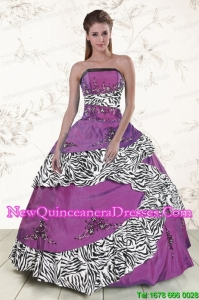 Top Seller Purple Quinceanera Dresses with Embroidery and Zebra