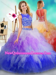 Fashionable See Through Beaded and Ruffled Quinceanera Dress in Rainbow Colored