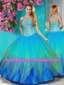 Gorgeous See Through Beaded Scoop Quinceanera Dress in Multi Color