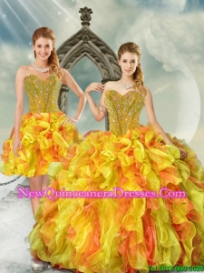 2015 Beautiful Yellow and Orange Quinceanera Dress Skirts with Beading and Ruffles