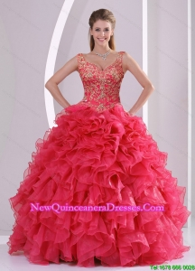2015 Modern and Detachable Beading and Ruffles Quince Dresses in Red