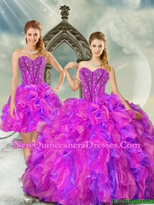 2015 Most Popular Fuchsia and Lavender Quinceanera Dress Skirts with Beading and Ruffles