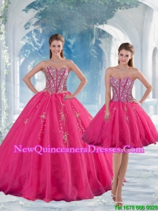 2015 Sweetheart Hot Pink Sequins and Appliques Quinceanera Dress Skirts
