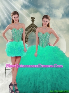 2015 Trendy Beading and Ruffles quinceanera dress skirts in Apple Green