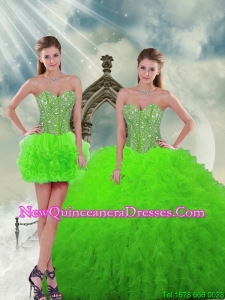 Beautiful Beading and Ruffles Spring Green Quinceanera Dress Skirts