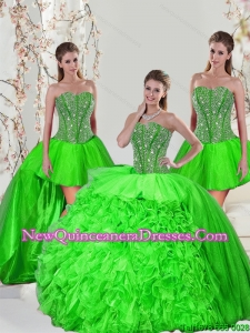 Detachable Beading and Ruffles Quinceanera Dress Skirts in Spring Green for 2015