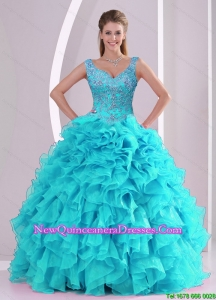 Most Popular and Detachable Beading and Ruffles Quinceanera Dresses in Aqua Blue