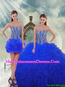 Most Popular and Detachable Royal Blue Quinceanera Dresses with Beading and Ruffles for 2015 Spring