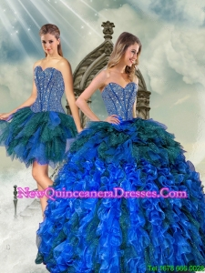 2015 Detachable Beading and Ruffles Quince Dresses in Royal Blue and Teal