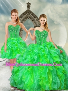 2015 Fashionable Beading and Ruffles Dresses for Quince in Multi Color