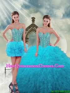 2015 Spring Luxurious and Detachable Beading and Ruffles Turquoise Dresses For Quince
