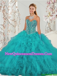 2015 Top Seller and Detachable Beading and Ruffles Sweet 15 Dresses in Turquoise