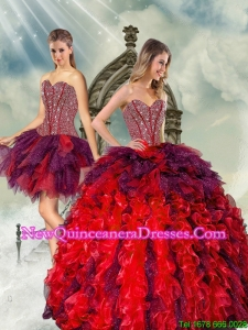 Detachable Beading and Ruffles Multi Color Quince Dresses for 2015