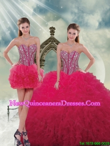 Fashionable and Detachable Beading and Ruffles Red Sweet 16 Dresses