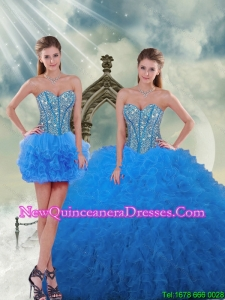 Most Popular and Detachable Aqua Blue Sweet 16 Dresses with Beading and Ruffles