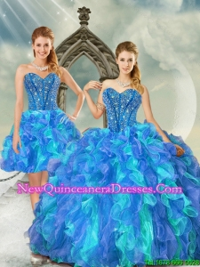 New Style and Detachable Beading and Ruffles Multi Color Quinceanera Dresses for 2015