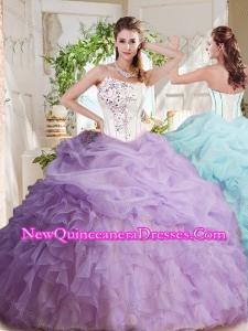 2016 Fashionable Asymmetrical Visible Boning Beaded Quinceanera Dress with Ruffles and Bubbles
