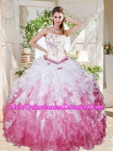 Wonderful Asymmetrical Big Puffy Discount Quinceanera Dress with Beading and Ruffles