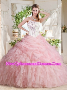 Simple Asymmetrical Beaded Quinceanera Dress with Visible Boning Bubbles and Ruffles