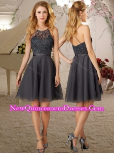 Cheap See Through A Line Scoop Grey Damas Dress with Criss Cross