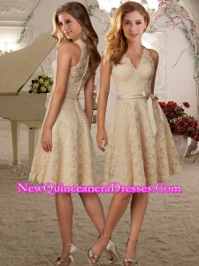 New Style Be-ribboned V Neck Knee Length Dama Dress in Champagne