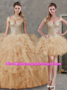 Off the Shoulder Champagne Detachable Quinceanera Dresses with Beading and Ruffles