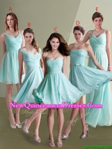 Elegant Empire Ruched Decorated Chiffon Dama Dress in Aqua Blue