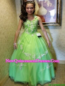 New Arrivals Halter Top Appliques Little Girl Pageant Dress with Puffy Skirt