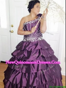 Cheap One Shoulder Dark Purple Quinceanera Dress with Appliques and Pick Ups