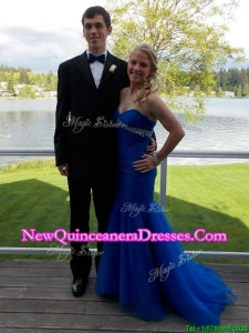 Modest Mermaid Beading Blue Prom Dress with Brush Train